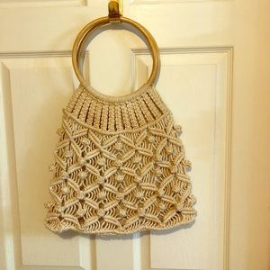 Handbags - Vintage Boho Macrame Bag Wood Handles
